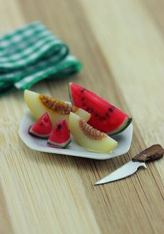 Melons+Plate++112+Dollhouse+Miniature+Dessert+by+shayaaron+on+Etsy,+₪72.00