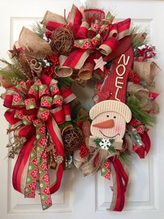Rustic Wreath Country Wreath Burlap Christmas by WilliamsFloral