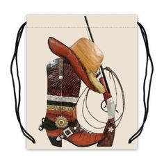 Custom Cowboy Boots Hat Gun Basketball Drawstring Bags Backpacks Polyester Fabric Travel Backpack(Twin Sides) -- Awesome products selected by Anna Churchill