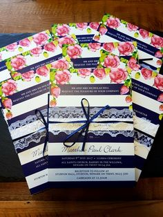 Wedding stationary  Navy stripe Pink roses Lace Ribbon Wedding invite Ribbon Wedding, Lace Ribbon, Wedding Stationary, Wedding Invitations, Newark On Trent, Tweed Waistcoat, Moss Bros, Countryside Wedding, Rose Lace