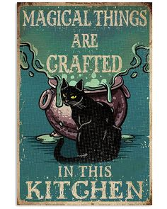 Retro Black Cat Magical Things Crafted In Kitchen shirts, apparel, posters are available at Ateefad Outfits Store. Art And Illustration, Illustrations, Vintage Halloween, Halloween Crafts, Halloween Decorations, Video Chat, Cat Posters, Movie Posters, Pics Art
