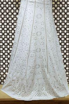Ada #handembroidered #white  #puregeorgette  #lucknowi  #chikankari #lehenga Skirt (only skirt) – A468473