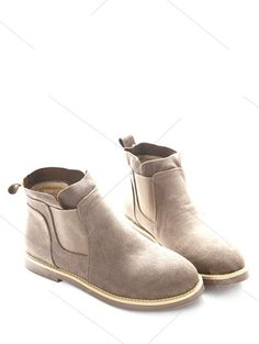 Flat Heel Elastic Band Suede Ankle Boots CAMEL: Boots   ZAFUL