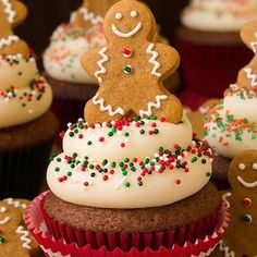 only way to finish off these gingerbread cupcakes? With a gingerbread man cookie, of course! only way to finish off these gingerbread cupcakes? With a gingerbread man cookie, of course! Holiday Cupcakes, Holiday Baking, Christmas Desserts, Christmas Treats, Christmas Baking, Christmas Sprinkles, Christmas Cupcakes Decoration, Christmas Cup Cakes Ideas, Christmas Recipes