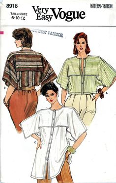 Vogue 8916 Loose Fitting top Pattern size 10 date 1980s