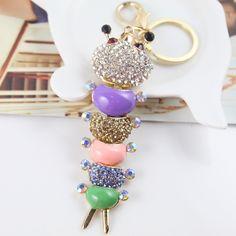 Lovely Colorful Enamel Caterpillar Crystal Keychain Fashion Keyring Gift Accessory Purse Charm Pendant Free Shipping(China (Mainland))