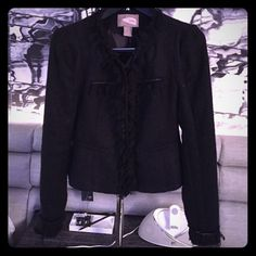 Black fancy blazer Black blazer with fringe and chain detailing. Forever 21 Jackets & Coats Blazers