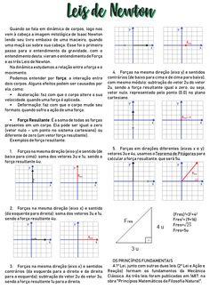 Resumo- Leis de Newton Study Organization, Study Notes, Study Motivation, Study Tips, Summary, Physics, Knowledge, Education, Math