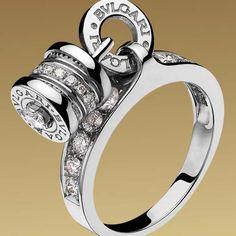 4465ceed2c2 Bulgari B.ZERO1 charm ring in 18kt white gold with pavé diamonds Bulgari  Jewelry