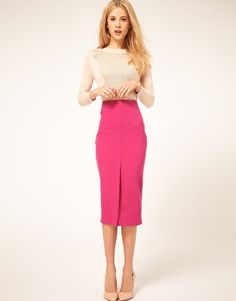"""Someone once said """"every girl needs a hot pink pencil skirt"""" - also love the split in the front -- ASOS Pencil Skirt with Split Front Pink Pencil Skirt, Black Pencil Dress, Pencil Skirts, Asos Skirts, High Low Prom Dresses, Pants For Women, Clothes For Women, White Skirts, Skirt Fashion"""
