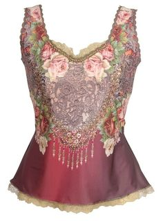 Glamourous Sleeveless Tank Top by Michal Negrin w Crystals, Floral & Angel Print