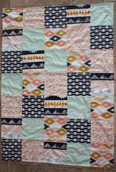 If we're having a girl...Tribal Baby Quilt Arizona southwestern patchwork by lillygrove