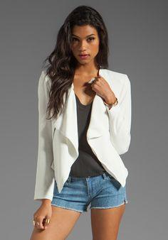BB DAKOTA Adams Sharp Shoulder Drape Jacket in Dirty White at Revolve Clothing - Free Shipping!