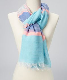 Another great find on #zulily! Bay Breeze & Pink Stripe Scarf by Jessica Simpson Collection #zulilyfinds