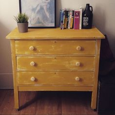 New creation, distressed yellow dresser / nouvelle création, commode jaune vieillie patinée  #distressed furniture Dresser, Decoration, Painted Furniture, Drawers, Shabby Chic, Furnitures, Etsy, Vintage, Home Decor