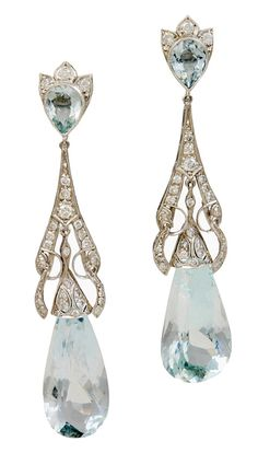 Aquamarine Teardrop Earrings ~ Alice Kwartler Antiques