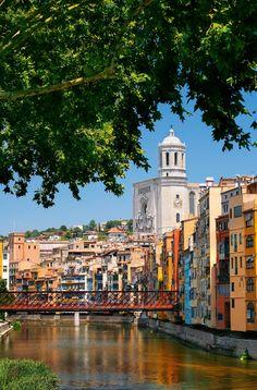 El Pont de Ferro de Girona, també anomenat Pont de les Peixateries Velles, sobre el riu Onyar (Catalunya - Catalonia)