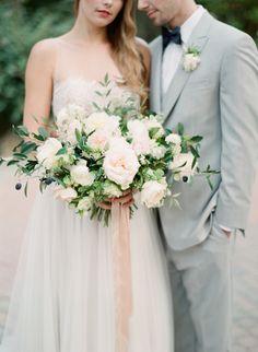 Rose and greenery wedding bouquet: http://www.stylemepretty.com/little-black-book-blog/2017/03/06/rancho-las-lomas-springtime-wedding-inspiration/ Photography: Koman - http://komanphotography.com/