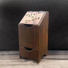 Wood Potato And Onion Storage Bin  Taters N' by TheCherryAttic