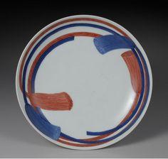 Dish, porcelain with braiding design in underglaze blue and overglaze red enamel Nabeshima style, Nabeshima ware Edo period, 1700-1740's