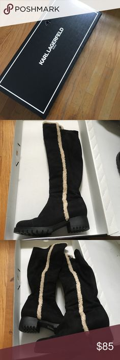 Karl lagerfeld boots Karl Lagerfeld black over the knee suede boots with Sherpa lining detail. Excellent used condition, worn twice. Comes with original Box 📦 Karl Lagerfeld Shoes Over the Knee Boots