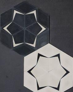 "Twins - Popham Design's new pattern ""Soar"" combined with our Diamond tiles in Milk and Kohl. All handmade in Marrakech, Morocco.  #pophamdesign #marokktiles #marokkdk #marokk #ihavethisthingwithtiles #ihavethisthingwithfloors #coolconcrete #concretetiles #cementkakel #sementfliser #cementfliser #encaustictiles #mosaichydraulic #zementfliesen #marokkanskefliser #carreauxdeciment #midcenturymodern #midcentury #danishmodern #danishdesign #handmadetiles #diamondtiles"