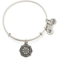 Alex and Ani Take The Wheel Expandable Wire Bracelet ($28) ❤ liked on Polyvore featuring jewelry, bracelets, rafaelian silver, wire bangle bracelet, bracelet bangle, bracelet charms, alex and ani bangles and hinged bangle bracelet