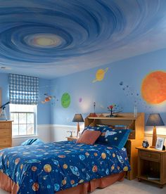 Cool bedroom #space theme #cool kids