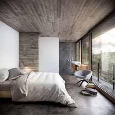 House in Nature by Design Raum the weathered wood on a wall somewhere would be fun! Loft, ideas, home, house, apartment, decor, decoration, indoor, interior, modern, room, studio.