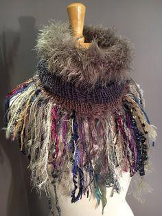 Handmade Knit Fur Reversible Cowl with artsy fringe, Knit neckwarmer, turtleneck scarf, taupe scarves, hand spun fibers, bohemian, artwear by RockPaperScissorsEtc on Etsy