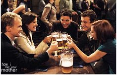 """How I Met Your Mother"" co-stars (from left) Neil Patrick Harris, Cobie Smulders, Josh Radnor, Jason Segel and Alyson Hannigan offer a toast at MacLaren's in a scene from the sitcom's first season. Ted Mosby, How I Met Your Mother, Neil Patrick Harris, Jim Parsons, Alyson Hannigan, Best Tv, The Best, Josh Radnor, Life Lessons"