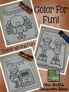 Thanksgiving Color For Fun Printable #Freebie #FernSmithsClassroomIdeas