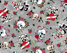 "Ed Hardy ""Love Is True"" Love skulls from Quilting Treasures on Gray Badass Wallpaper Iphone, Cross Wallpaper, Skull Wallpaper, Cartoon Wallpaper, Pattern Wallpaper, Wallpaper Backgrounds, Phone Backgrounds, Wallpapers, Cotton Blossom"