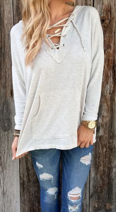 Be the dazzling highlight, ladies. It depends on you. ONLY $15.99, Kangaroo Hooded Sweatshirt features Lace-up Neck. OASAP.COM your choice!