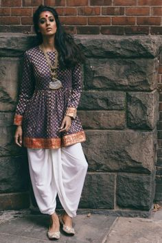 Dhoti Pants and Peplum Top Idea :- Wanderlust Fashion . Indian Fashion Trends, India Fashion, Ethnic Fashion, Look Fashion, Fashion Men, Fashion Styles, Salwar Designs, Churidar, Anarkali