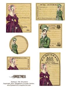 Ephemera's Vintage Garden: Free Printable - 'Sweetness' Vintage Women Labels