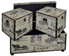 Paris Set of Fabric Storage Trunks - Side Table - Bedding - Toy Boxes Toy Boxes, Storage Boxes, Trunk Side Table, Blanket Box, Trunks And Chests, Fabric Storage, Wooden Boxes, Storage Solutions, 3 Piece