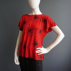 Only With Love – iheartfink Womens Handmade Top Unique Hand Printed Red Blouse