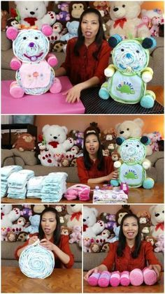 Teddy Bear Diaper Cake www.TopsyTurvyDiaperCakes.com * diaper cakes for baby shower & washcloth favors