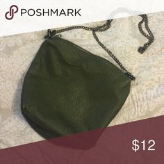 Green Crossbody Bag Sack style Cross Body Bag with oxidized chain. I have no idea what brand this is, it came with a Stitch Fix of mine as part of a bigger bag, that someone borrowed and never returned.... Anyhow, I love it, but as a mom, I need the bigger bag and at least one pocket! 🙈😂 Bags Crossbody Bags