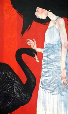 Art by: Lucy Campbell Title: Black Swan Art And Illustration, Illustrations, Swan Painting, Painting & Drawing, Image Halloween, Image Nature Fleurs, Art Fantaisiste, Animal Sketches, Pop Surrealism