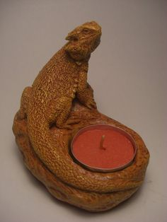 Bearded Dragon Candle Holder NEW  terra ctta by jasonshanamanart, $15.00