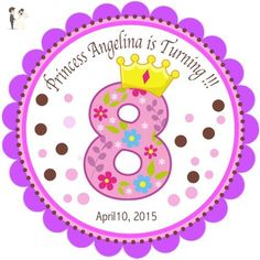 """40 Round Labels 2"""" Personalized Princess Stickers, Princess Custom Hangtags, Party Favors Labels, Cupcake Toppers, Choice Of Size - Cake and cupcake toppers (*Amazon Partner-Link)"""