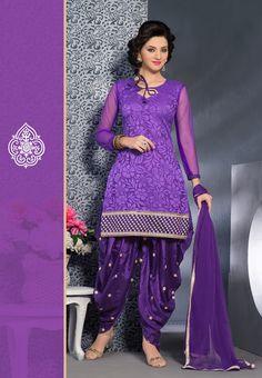Purple shades brasso #designer #punjabisuit  comes with purple chiffon dupatta.