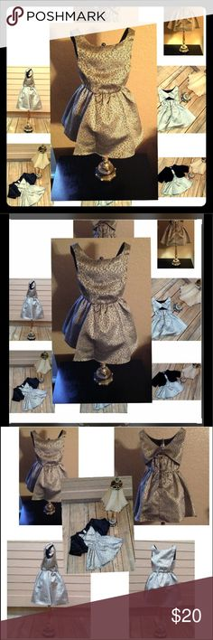 OH MY POSH! BCB Girls Stunning Silver & Gold Dress Gorgeous Girls Silvery Golden Lil Girl's Dress. Worn Twice, Great Condition. Super Cute Classic Dressed Up Casual With Sandals Peek A Boo Back Girly Girl Love Of A Dress. BCBGirls Dresses Formal
