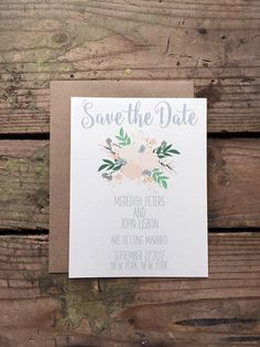 Grey and Peach Floral Save the Date Wedding Invitation