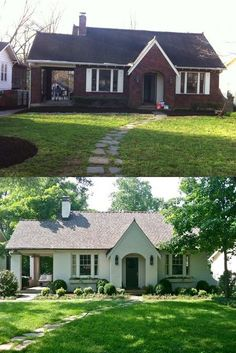 Before & After: painting a brick house... Wish we could paint our brick