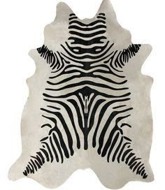 Rugs USA Silk Screen Zebra Cowhide White Rug. Rugs USA Fall Sale up to 80% Off! Area rug, rug, carpet, design, style, home decor, interior design, pattern, trends, home, statement, fall,design, autumn, cozy, sale, discount, interiors, house, free shipping.