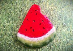 Painted rock Watermelon slice by Moodstones on Etsy Pebble Painting, Stone Painting, Diy Painting, Painted Rocks Craft, Painted Stones, Painted Pebbles, River Rock Crafts, Watermelon Painting, Rock Painting Patterns