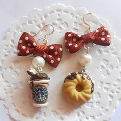 Starbucks coffee earrings- handmade miniature polimer clay food jewelry.